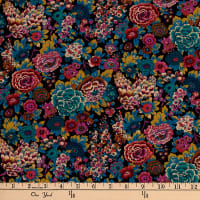 Liberty Fabrics Silk Crepe de Chine Elysian Day Black