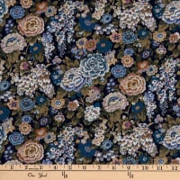 Liberty Fabrics Silk Crepe de Chine Elysian Day Navy