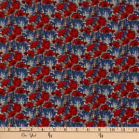 Liberty Fabrics Silk Crepe de Chine Clementina Red