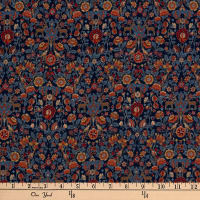 Liberty Fabrics Silk Crepe de Chine Palmeira Blue/Orange