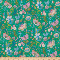 Liberty Fabrics Silk Crepe de Chine Mabelle Hall Green