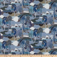 Liberty Fabrics Silk Crepe de Chine Prospect Road Blue/Grey