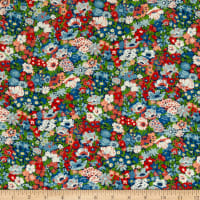 Liberty Fabrics Silk Crepe de Chine Thorpeness Blue/Multi