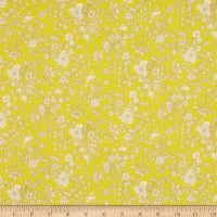 Liberty Fabrics Silk Crepe de Chine Summer Blooms Yellow