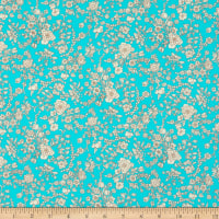 Liberty Fabrics Silk Crepe de Chine Summer Blooms Aqua