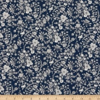 Liberty Fabrics Silk Crepe de Chine Summer Blooms Navy