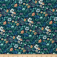 Liberty Fabrics Silk Crepe de Chine Rachel Meadow Blue