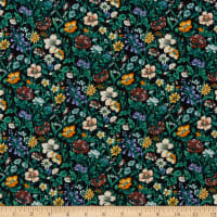 Liberty Fabrics Silk Crepe de Chine Rachel Meadow Black