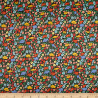 Liberty Fabrics Silk Satin Charmeuse  Poppy Park Black