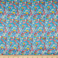 Liberty Fabrics Silk Satin Charmeuse Poppy Park Blue
