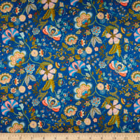 Liberty Fabrics Silk Satin Charmeuse Mabelle Hall Blue