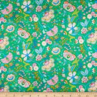 Liberty Fabrics Silk Satin Charmeuse Mabelle Hall Green