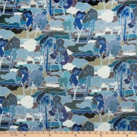 Liberty Fabrics Silk Satin Charmeuse Prospect Road Blue/Grey