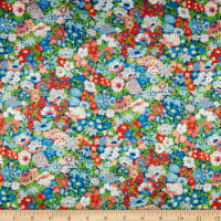 Liberty Fabrics Silk Satin Charmeuse Thorpeness Blue/Multi