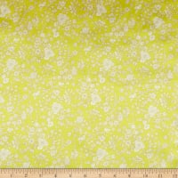 Liberty Fabrics Silk Satin Charmeuse Summer Blooms Yellow