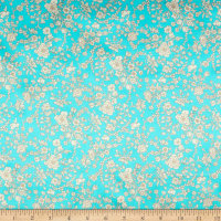 Liberty Fabrics Silk Satin Charmeuse Summer Blooms Aqua