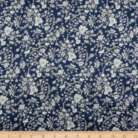Liberty Fabrics Silk Satin Charmeuse Summer Blooms Navy