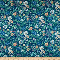 Liberty Fabrics Silk Satin Charmeuse Rachel Meadow Blue