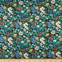 Liberty Fabrics Silk Satin Charmeuse Rachel Meadow Black