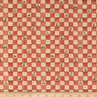 QT Fabrics Digital Bless This House Cherry Check Red