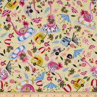 QT Fabrics  Flamingo Fantastico Flamingo Toss Yellow