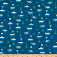 QT Fabrics  Hop To It Frogs & Crowns Navy