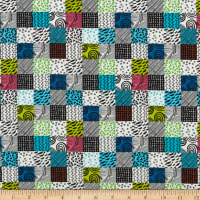 QT Fabrics  Hop To It Geo Patch Multi