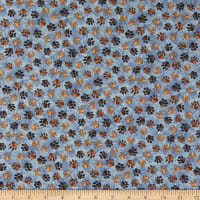 QT Fabrics Digital Loyal Loveable Labs Paw Prints Blue