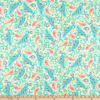 QT Fabrics  Rosalyn Paisley Light Green