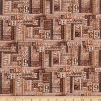 QT Fabrics  Tailor Made Numbers Patch Brown