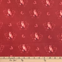 Laura Ashley Fables Fox Damask Burgundy