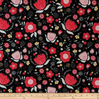 Camelot Field of Poppies Floral Medley Black