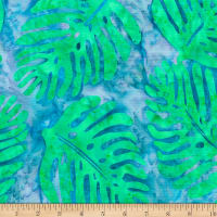 Banyan Batiks Tapa Cloth Single Leaves Ocean Mint