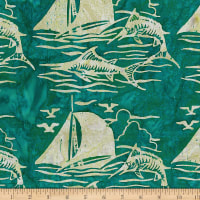 Banyan Batiks At The Pier Sailboat Fish Teal Sand