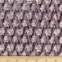 Banyan Batiks At The Pier Zig Zag Dots Plum Beige