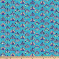 Northcott Shimmer Fantasia Moths Turquoise Multi