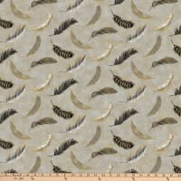 Northcott Shimmer Fantasia Feathers Light Grey