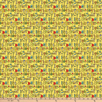 Northcott Doodle Dogs Dog Sayings Yellow Multi
