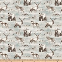 Northcott Misty Mountain Flannel Forest Animals Turquoise