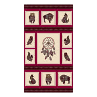 "Northcott Great Plains Spirit Animals Panel 24"" Red Multi"