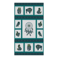 "Northcott Great Plains Spirit Animals Panel 24"" Light Teal"