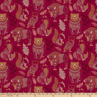 Northcott Great Plains Spirit Animals Red Multi