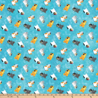 Northcott Shiver Me Whiskers Kitty Toss Turquoise