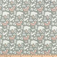 Northcott Hello Little One Forest Gathering Grey Pink