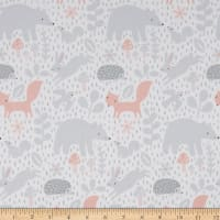 Northcott Hello Little One Forest Gathering White Pink