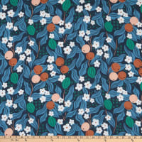 FIGO A Life In Pattern Rayon Challis Fruit Floral Navy