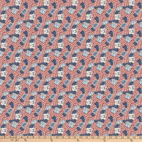 Northcott Route 66 American Flags Cream Multi