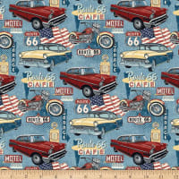 Northcott Route 66 Cars and Motorcycles Blue Multi