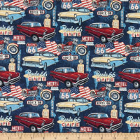 Northcott Route 66 Cars and Motorcycles Navy Multi