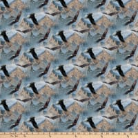 Northcott On Freedom's Wings Eagles Mountains Blue Multi